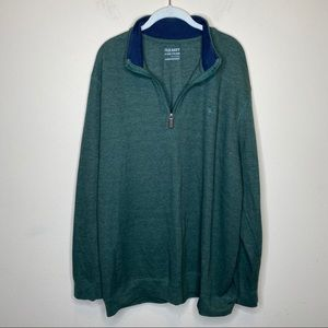 Old Navy XXXL Green 1/4 Zip Cotton Blend Sweater
